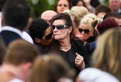 © Licensed to London News Pictures. 21/04/2018. London, UK. Mourners attend the burial of traveller 'Queenie, Elizabeth Doherty at Kensal Green Cemetery in west London, following a funeral service in Cobham, Surrey. Elizabeth Doherty, whose son Paddy Doherty is known for appearing on My Big Fat Gypsy Wedding and winning Celebrity Big Brother 8, died of a heart attack earlier this month. Paddy Doherty claimed his mother has died of a 'broken heart' following the death of her husband almost a year ago. Photo credit: Ben Cawthra/LNP
