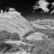 Mormon Rocks - Elevated North West View After Snow Dusting - HDR - Infrared Black & White