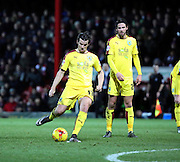 Burnley midfielder Joey Barton scoring Burnley second goal from free kick during the Sky Bet Championship match between Brentford and Burnley at Griffin Park, London, England on 15 January 2016. Photo by Matthew Redman.