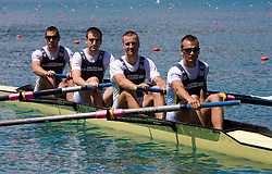 (from L?) Rok Gradisnik, Blaz Velcel, Marko Grace and Jernej Jurse of VK DEM MB at 54th International rowing Regatta, on June 13, 2009, at Bled lake, Slovenia. (Photo by Vid Ponikvar / Sportida)