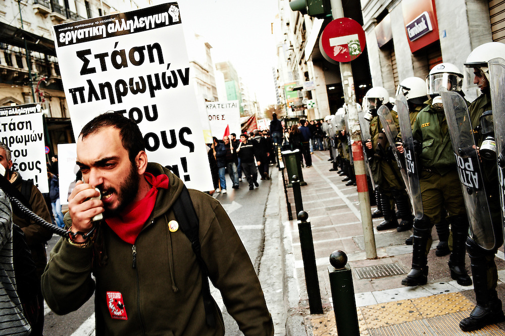 Demonstrations commemorating the second anniversary since the murder of 15 year old Alexandros Grigoropoulos by police in 2008, Athens, Greece, 6 December 2010