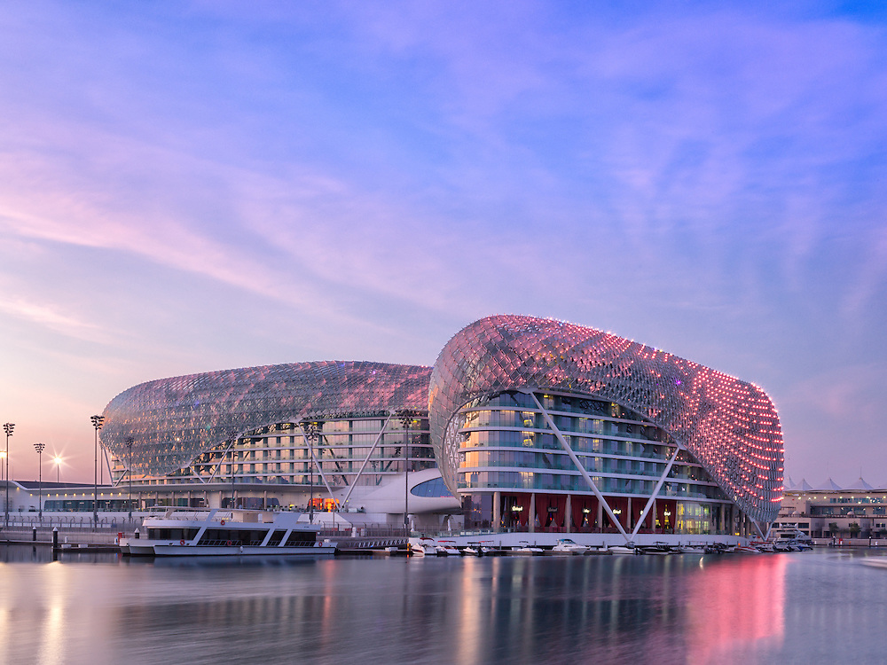 Yas ViceRoy Hotel over looking the Yas Marina Bay on Yas Island in Abu Dhabi at the heart of it Formula 1 racing circuit.