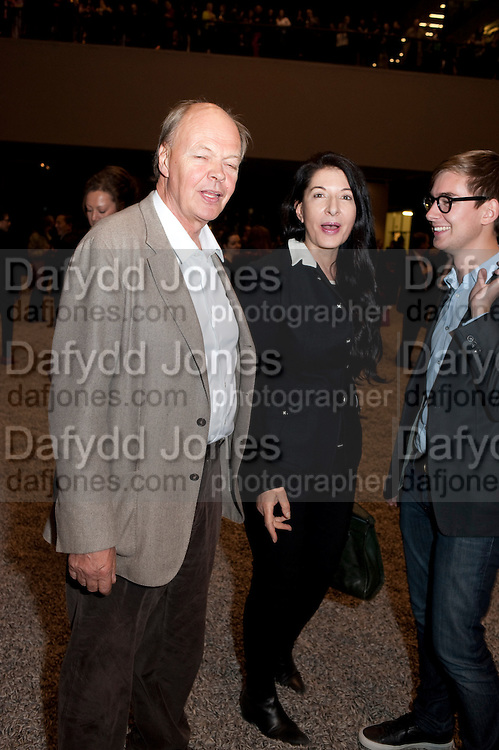 NICHOLAS LOGSDAIL; MARINA ABRAMOVIC, Ai Weiwei Unilever series opening. Tate Modern. 11 October 2010. -DO NOT ARCHIVE-© Copyright Photograph by Dafydd Jones. 248 Clapham Rd. London SW9 0PZ. Tel 0207 820 0771. www.dafjones.com.