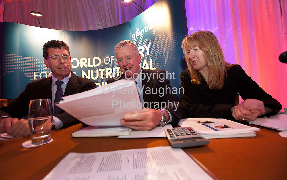 215/5/2010.Picture courtesy of Glanbia no reproduction charge..Pictured at the Glanbia PLC annual general meeting in Kilkenny was from left Liam Herlihy, Chairman Glanbia PLC; John Moloney, Group Managing Director and Siobhan Talbot, Group Finance Director..Picture Dylan Vaughan.