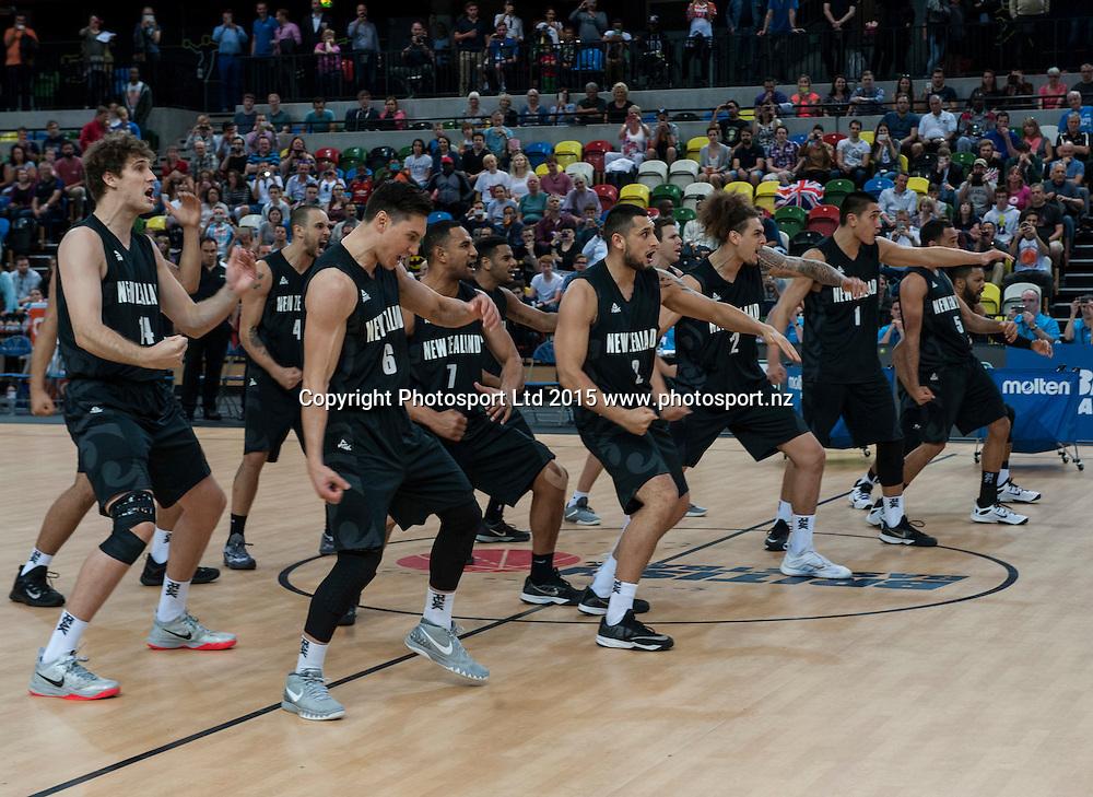 25.07.2015. London England. Basketball test match. Great Britain versus New Zealand.  The Tall Blacks Haka.