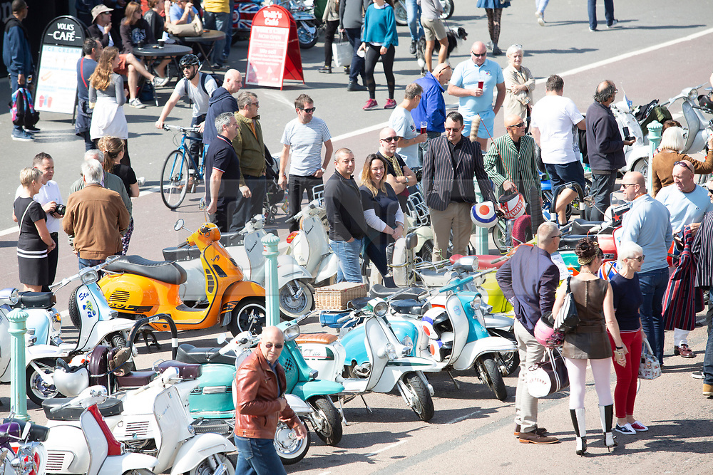 © Licensed to London News Pictures. 25/08/2016. Brighton, UK. Hundreds of Vespa scooter enthusiast decent on Brighton and Hove every August Bank Holiday weekend. Although peaceful and full of fun these days the event spans back to the mid sixties at the time when the so called Mods and Rockers battled it out on Brighton Beach. Photo credit: Hugo Michiels/LNP