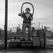 Statue of mythic steel worker Joe Magarac, US Steel, Braddock, PA
