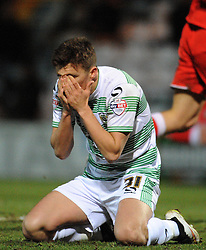 Dejection for Yeovil Town's Adam Morgan  - Photo mandatory by-line: Harry Trump/JMP - Mobile: 07966 386802 - 03/03/15 - SPORT - Football - Sky Bet League One - Yeovil v Walsall - Huish Park, Yeovil, England.