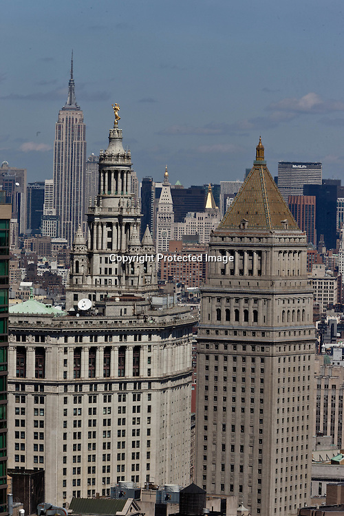 New York elevated view, Lower Manhattan Cityscape / New York  panorama du bas de la ville