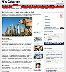 Screenshot from The Telegraph..beach and skyline in Dubai