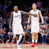 17 October 2014: Los Angeles Clippers guard Jamal Crawford (11) is seen next to Los Angeles Clippers forward Blake Griffin (32) during the Los Angeles Clippers 101-97 victory over the Utah Jazz, in a preseason game, at the Staples Center, Los Angeles, California, USA.