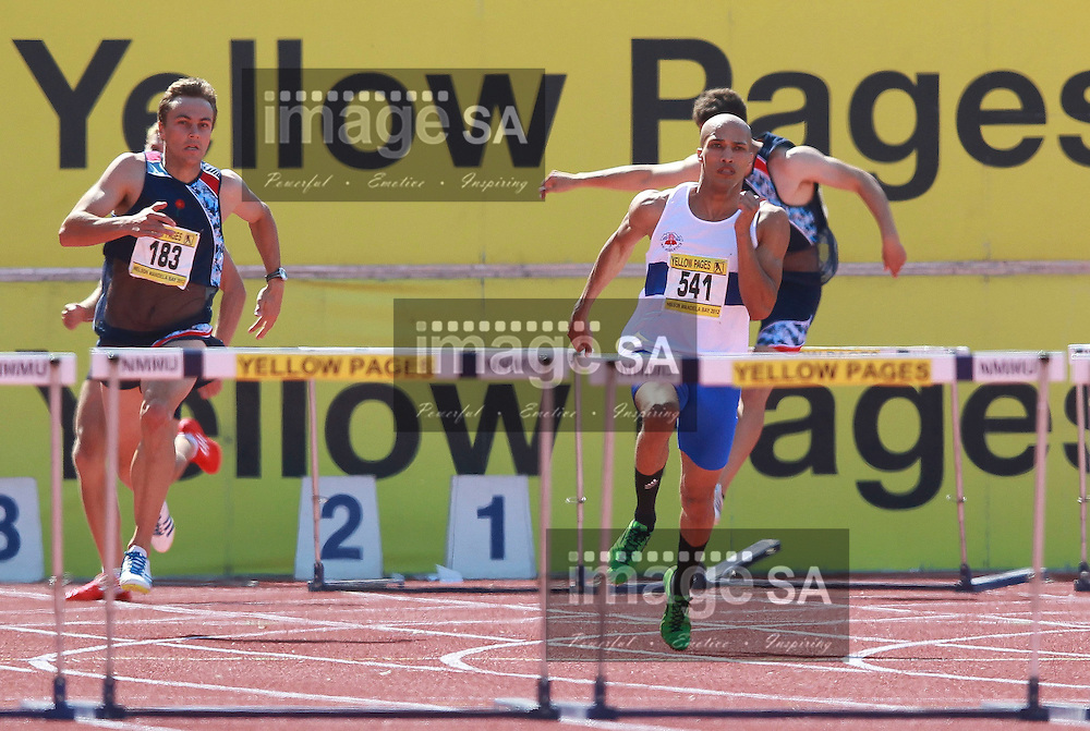 PORT ELIZABETH, SOUTH AFRICA, Saturday 14 April 2012, Cornel Fredericks wins the mens 400m hurdles during the Yellow Pages South African Senior and Combined Events Championships held at the Xerox Nelson Mandela Metropolitan University, Nelson Mandela Bay..Photo by Roger Sedres/Image SA/ASA