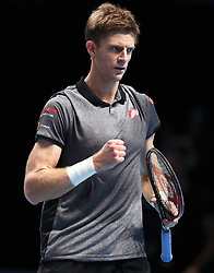 Kevin Anderson reacts during the men's singles match during day five of the Nitto ATP Finals at The O2 Arena, London.