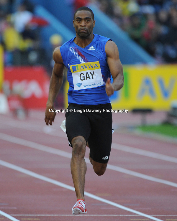 Tyson Gay 100m sprint at The Aviva Grand Prix World Athletics at Crystal Palace UK on 13th August 2010. © Photo credit: Leigh Dawney