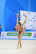 "Ayupova Ekaterina during ball routine at the International Tournament of rhythmic gymnastics ""Città di Pesaro"", 02 April, 2016. Ekaterina is a Russian individualistic gymnast, born on August 31, 2002 in St. Petersburg.<br />