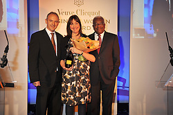 Left to right, GRAHAM BOYES, CATH KIDSTON and SIR TREVOR MACDONALD at the presentation of the Veuve Clicquot Business Woman Award 2009 hosted by Graham Boyes MD Moet Hennessy UK and presented by Sir Trevor Macdonald at The Saatchi Gallery, Duke of York's Square, Kings Road, London SW1 on 28th April 2009.
