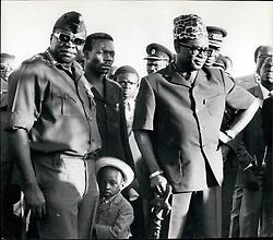 1974 - President Mobutu Sese Seko (r.) currently on a visit to Uganda for talles with president IDI Amin on the Tomzania/Uganda. (Credit Image: © Keystone Pictures USA/ZUMAPRESS.com)