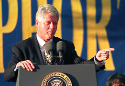 1998. Miami, Florida. .President Bill Clinton under pressure from the Monica Lewinsky investigation addresses a crowd, allegedly wearing a tie given to him by Miss Lewinsky..Photo; Charlie Varley