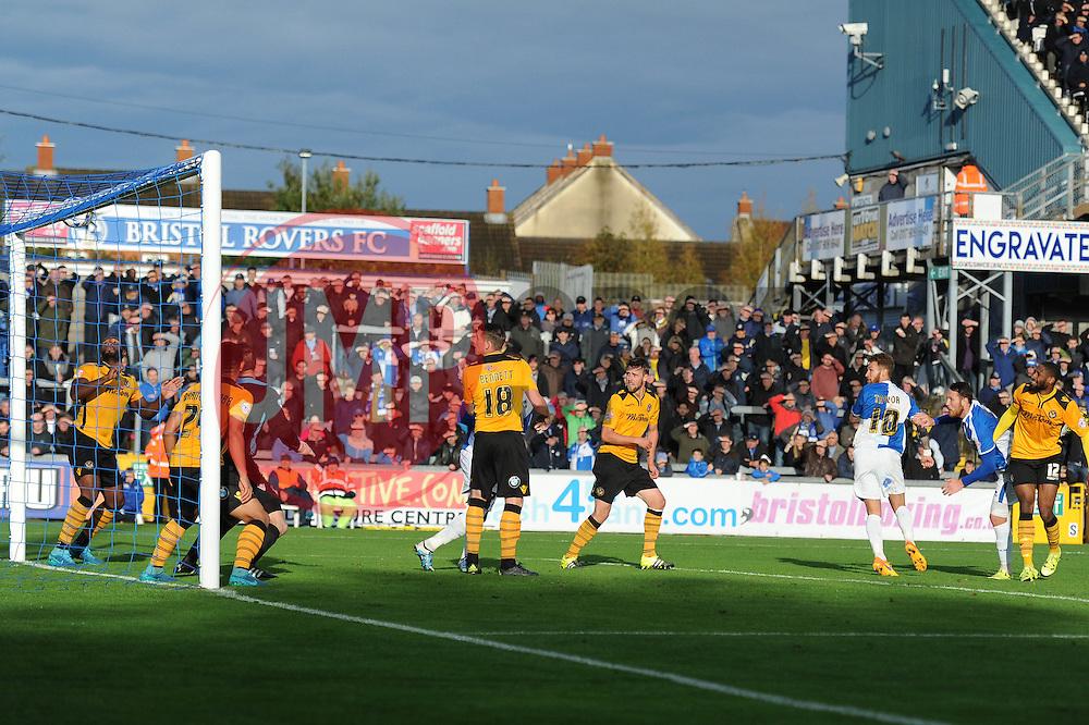 Tom Parkes of Bristol Rovers hits the crossbar with a header - Mandatory byline: Dougie Allward/JMP - 07966 386802 - 24/10/2015 - FOOTBALL - Memorial Stadium - Bristol, England - Bristol Rovers v Newport County AFC - Sky Bet League Two