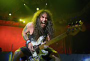 Iron Maiden's Steve Harris at the Battle of San Bernardino at San Manuel Amphitheater in Devore, CA on September 13, 2013