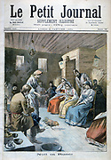 A Russian peasant Christmas: Marriagable village girls watch while cockerel pecks grain on floor. Girl who he pecks up most in front of will be the first to marry. Men play musical instruments.  From 'Le Petit Journal', Paris, 8 January 1894.
