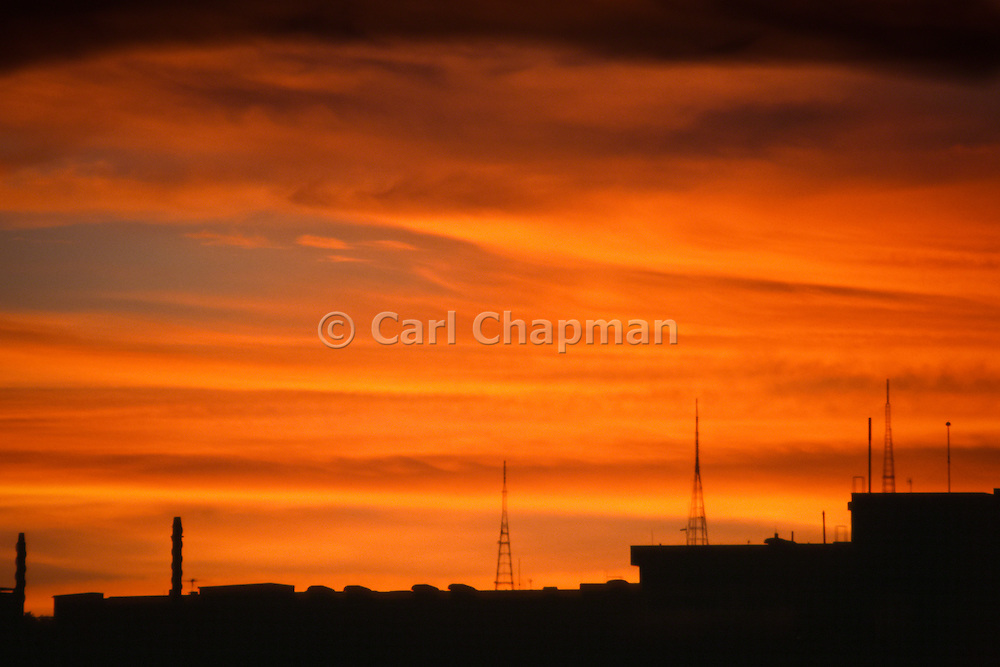 Television broadcast towers at sunset over Brisbane city and Mt Coot-tha - Australia