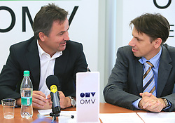 Primoz Ulaga and Robert Dezman of OMV at press conference before signing the sponsorship contract with SZS, on June 30, 2008, Ljubljana, Slovenia. (Photo by Vid Ponikvar / Sportal Images)../ Sportida)