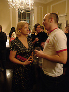 Pascal Wyse and Daisy Garnett, Book launch of Truth or Dare,  edited by Justine Picardie. House of St. Barnabus. Sales of the book at the launch went towards Breast  Cancer  Care. Greek St. London. 30 September 2004. SUPPLIED FOR ONE-TIME USE ONLY-DO NOT ARCHIVE. © Copyright Photograph by Dafydd Jones 66 Stockwell Park Rd. London SW9 0DA Tel 020 7733 0108 www.dafjones.com