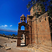 The Armenian Cathedral of the Holy Cross on Akdamar Island in the Van Sea, Van, Eastern Anatolia, Turkey. The odlest structure on the island, the Cathedral was built with pink sandstone by the architect-monk Manuel during the years 915-921, under the reign of King Gagik I Artsruni (908-943/944) of the Armenian kingdom of Vaspurakan, who chose the island for one of his many residences.