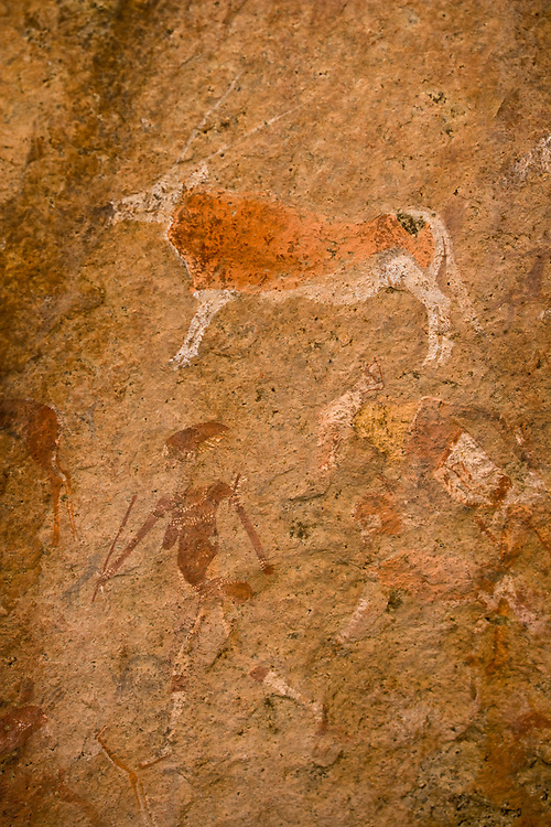 Africa, Namibia, Brandberg Nature Reserve, Rock painting of 2000-year-old 'White Lady' in Tissue Ravine