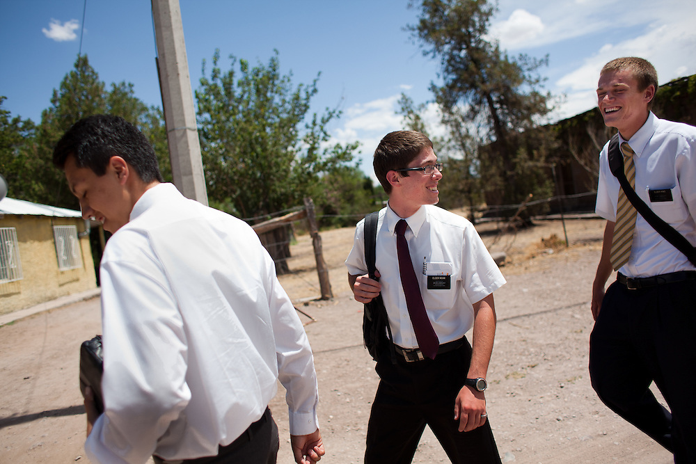 From left, mormon missionaries Elder Gil, Elder Moak, and Elder King walk to Sunday lunch in Colonia Juarez, Mexico in July 2011. United States Presidential candidate Mitt Romney's family migrated to Mexico over 100 years ago after being granted asylum from Mexican President Porfirio Diaz after they had been pursued by the U.S. authorities for polygamy. ..(Romney is currently running for the Republican nomination.)