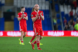 CARDIFF, WALES - Friday, September 6, 2019: Wales' Jonathan Williams applauds the supporters after the UEFA Euro 2020 Qualifying Group E match between Wales and Azerbaijan at the Cardiff City Stadium. (Pic by Mark Hawkins/Propaganda)