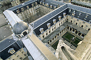 France. Paris. elevated view. The cloister of Clovis church inside of Henri 4 school. view from Clowis tower (remaining of the old church)