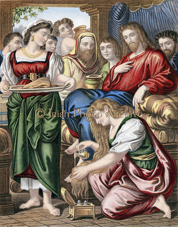 Mary Magdalene annointing the feet of Jesus. 'Bible' John 12. Chromolithograph c1860