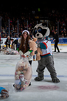 KELOWNA, CANADA - DECEMBER 2: Rocky Raccoon, the mascot of the Kelowna Rockets gets in a teddy bear fight with a volunteer on the ice after the Conner Bruggen-Cate #20 of the Kelowna Rockets scores a goal triggering the annual toss against the Kootenay Ice on December 2, 2017 at Prospera Place in Kelowna, British Columbia, Canada.  (Photo by Marissa Baecker/Shoot the Breeze)  *** Local Caption ***