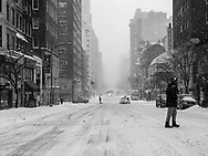 Madison Avenue at 81st street during a blizzard.