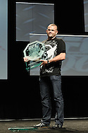 "LAS VEGAS, NEVADA, JULY 10, 2009: Former UFC light heavyweight champion Chuck Liddell receives his plaque after being formally inducgted into the UFC's ""Hall of Fame"" during the first UFC Fan Expo inside the Mandalay Bay Convention Centre in Las Vegas, Nevada"
