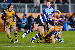 Jason Woodward of Bristol Rugby is tackled - Rogan Thomson/JMP - 18/11/2016 - RUGBY UNION - Recreation Ground - Bath, England - Bath Rugby v Bristol Rugby - Aviva Premiership.