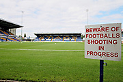 Beware of flying footballs sign before the EFL Sky Bet League 2 match between Mansfield Town and Luton Town at the One Call Stadium, Mansfield, England on 26 August 2017. Photo by Nigel Cole.