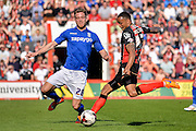 Michael Morrison and Callum Wilson during the Sky Bet Championship match between Bournemouth and Birmingham City at the Goldsands Stadium, Bournemouth, England on 6 April 2015. Photo by Adam Rivers.
