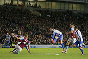 Brighton & Hove Albion centre forward Glenn Murray (17) shoots and scores a goal 1-1 during the EFL Sky Bet Championship match between Brighton and Hove Albion and Aston Villa at the American Express Community Stadium, Brighton and Hove, England on 18 November 2016. Photo by Phil Duncan.