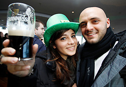 Friday, 15th March 2013: Francesca Lasuato and Almerindo Giorannetti from Italy pictured enjoying the St. Patrick's Festival at.the Guinness Storehouse which kicked off today with a host of entertainment on offer. For more.details and festival tickets, log on to www.guinness-storehouse.com or follow them on Twitter.@homeofguinness. Picture Andres Poveda