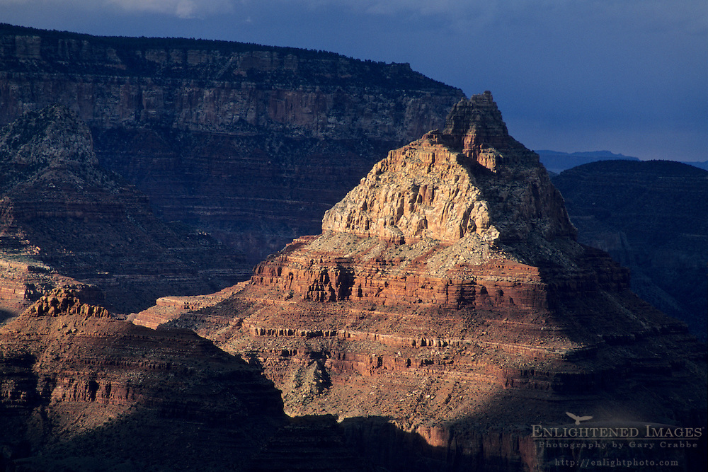 Sunlight on the Vishnu Temple, from Grandview Point, South Rim, Grand Canyon National Park, Arizona