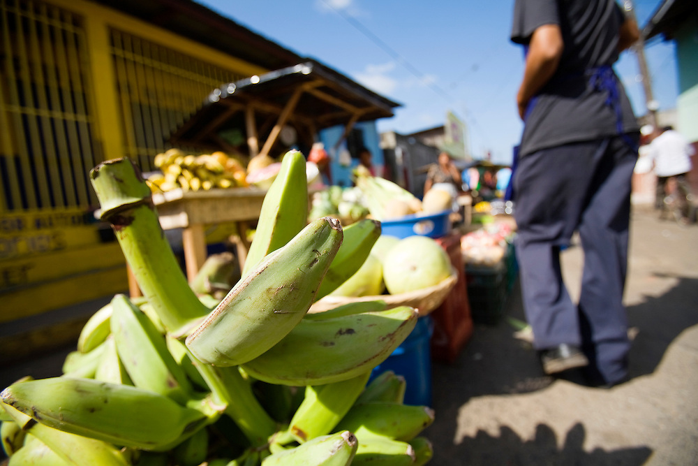 """Plantains for sale in the busy little market of Masatepe. Matatepe is one of the """"Los Pueblos Blancos, a series of towns on the central plateau of Nicaragua. It is located close to Granada, Nicaragua."""