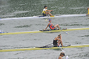 Lucerne SWITZERLAND,  W1X. Start of the Second semi-final women's single sculls,  top down AZE W1X Nataliya MUSTAFYEVA, NZL W1X. Emma TWIGG and CZE W1X Mirka KNAPKOVA,  at the   2011 FISA World Cup on the Lake Rotsee.  15:40:08  Saturday   09/07/2011   [Mandatory Credit Peter Spurrier/ Intersport Images]