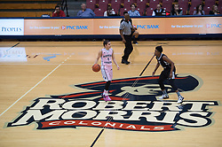 February 22 2016: Robert Morris Colonials guard Anna Niki Stamolamprou (4) brings the ball up court during the second half in the NCAA Women's Basketball game between the Long Island Blackbirds and the Robert Morris Colonials at the Charles L. Sewall Center in Moon Township, Pennsylvania (Photo by Justin Berl)