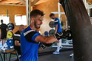 Forest Green Rovers Callum Evans(18) having a gym session during the Forest Green Rovers Training session at Browns Sport and Leisure Club, Vilamoura, Portugal on 24 July 2017. Photo by Shane Healey.