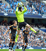 Petr Cech in action during the Barclays Premier League match between Manchester City and Chelsea at the City of Manchester Stadium on September 25, 2010 in Manchester, England.