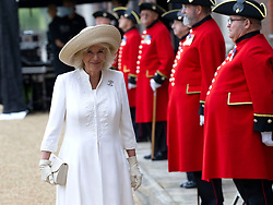 July 15, 2020, London, London, United Kingdom: Image licensed to i-Images Picture Agency. 15/07/2020. London, United Kingdom. The Duchess of Cornwall during a visit to the Royal Hospital Chelsea, United Kingdom. Her Royal Highness met members of staff and reviewed the Chelsea Pensioners on Parade. (Credit Image: © Pool/i-Images via ZUMA Press)