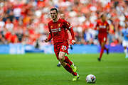 Liverpool defender Andy Robertson (26) on the ball during the FA Community Shield match between Manchester City and Liverpool at Wembley Stadium, London, England on 4 August 2019.